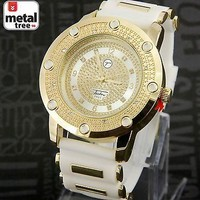 Jewelry Kay style New Hip Hop Iced Out 14k Gold Plated Silicone Band Techno Pave Watches 7590 GWH