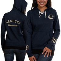 Women's Vancouver Canucks Old Time Hockey Navy Blue Queensboro Lace-Up Pullover Slim Fit Hooded Sweatshirt