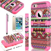 """iPhone 5S Case, iPhone 5 Case, ULAK Shock Absorbing Case with Hybrid Cover 3in1 Design Soft silicone + Hard PC Construction for Apple iPhone 5 5S (4"""" inch) Tribal-Pink+Pink"""