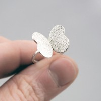 Cute Texturized Sterling Silver Ring. Roll Printed Texture.