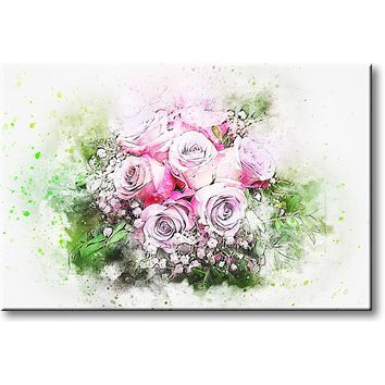 Pink Flowers Painting Picture on Stretched Canvas, Wall Art Décor, Ready to Hang