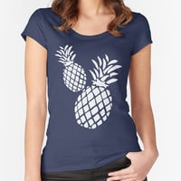 Pineapples T-shirt - Navy Blue Fitted Scoop Neck Women's Tshirt