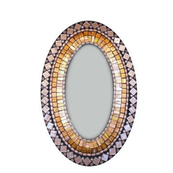 Brown and Copper Oval Mosaic Mirror