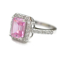 Size 5 Halo Pink Sterling Silver CZ Ring - Emerald Cut Halo Pink Ring - Pink Cocktail Ring - Pink Ring - Halo Pink Ring - 925 Halo Pink Ring