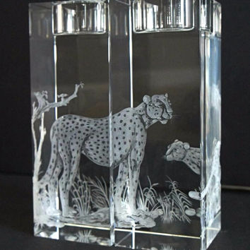 On The Watch Hand engraved Cheetah Candle Holders