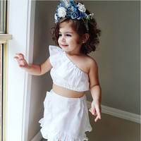 White Newborn Kids Baby Girls Off Shoulder Crop Tops Skirt Dress Outfits Clothes