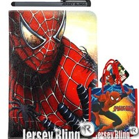 SPIDERMAN Super Hero iPad Air Childrens PVC Folio Case Cover w/Jersey Bling® Stylus and FREE Keychain or FREE Gift Item (iPad Air (iPad 5), SPIDERMAN)