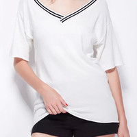 White Striped V-neck Short Sleeve Knit T-shirt