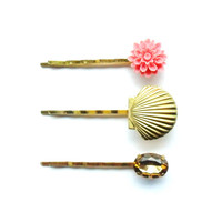Mermaid Locket Bobby Pin Set, Seashell Hair Pins, Nautical Golden Shell Clip, Little Coral Pink Vintage Flower, Estate Style Rhinestone Gold