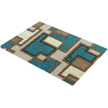 "ADUTY Bathroom Door Absorbent Pad Geometric Pattern Bathroom Mat Soft Microfiber Anti-slip Mat 31.5""x20"""