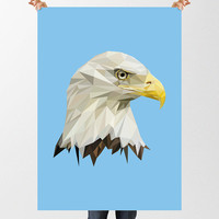 Eagle Print, Low Poly DIGITAL DOWNLOAD, Bird of Prey Printable Art, American Bird, Geometric Wall Art, Bald Eagle Poster, Home Decor