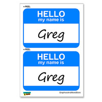 Greg Hello My Name Is - Sheet of 2 Stickers
