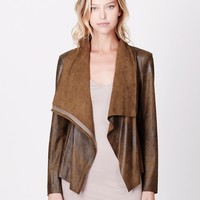 LE3NO Womens Lightweight Faux Suede Draped Front Zip Up Jacket