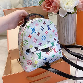Louis Vuitton LV Hot Style Color Print Letter Lady Backpack