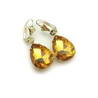 golden yellow earrings - crystal rhinestone Faceted Glass Teardrop golden yellow earrings, bridesmaids, wedding jewelry gift or for you