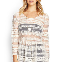 FOREVER 21 Crochet Lace Mesh Top Cream