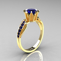 Cara 14K Yellow Gold 1.0 Ct Blue Sapphire Designer Solitaire Ring R423-14KYGBS