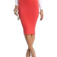 Chevron Textured Midi Skirt by Charlotte Russe - Hot Coral