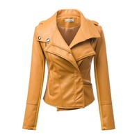 Fashion Turn Down Collar Slim PU Leather Jacket