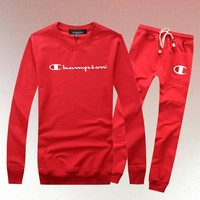 Champion Woman Men Long Sleeve Shirt Top Tee Pants Trousers Set Two-Piece Sportswear-2