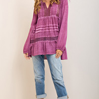 Plum Crochet Tunic Top