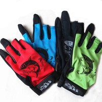 Breathable Anti Slip Fishing Gloves 3 Cut Half-Finger Men Outdoor Fishing Sports Gloves for Fly Carp Fish Accessories 4 Colors