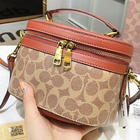 COACH New fashion pattern leather round bucket bag shoulder bag women handbag crossbody bag