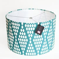 """Modern Lamp Shade - Free Shipping - 14"""" Drum - Turquoise and White Diamond Dots"""