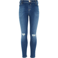 River Island Girls blue ripped knee Molly jeggings