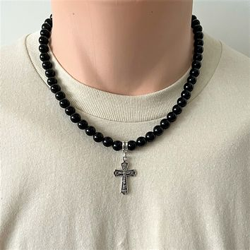 Black Onyx and Silver Cross Mens Beaded Necklace