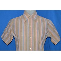 70s Brown Pink Large Collar Striped Shirt Youth Extra Large