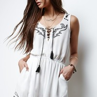 Erin Wasson Embroidered Lace-Up Romper - Womens Dress - White