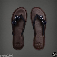 New $58 Abercrombie & Fitch Women Leather and Navy Blue Polka Dot Flip Flops