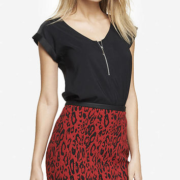 MIXED TEXTURE ZIP FRONT TEE from EXPRESS