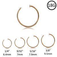 316L Surgical Steel Gold-Tone Nose Ring Hoop Choose Your Size 18G