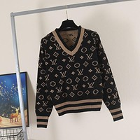LV Women Jacquard wool blended knitted sweater
