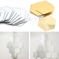 F85 Free Shipping 12Pcs 3D Mirror Hexagon Vinyl Removable Wall Sticker Decal Home Decor Art DIY
