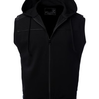 Mens Casual Faux Leather Zip up Hoodie Vest
