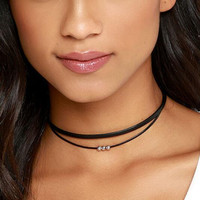 Simple fashion double layer three ball choker necklace XRC1675