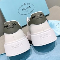 Prada new products women's thick-soled stitching color casual white shoes sneakers Dark Gray