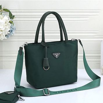 Prada Hot Two-piece Set Fashion Ladies Solid Color Tote Bag Handbag Shoulder Messenger Bag
