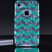 Otterbox iPhone 4 / 4S Case - Glitter Wintermint/Smoke Custom Small Chevron Pattern Mint Otterbox Case for iPhone 4S