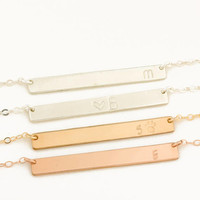Personalized Bar Necklace • Initial Bar Necklace • Gold Bar Pendant • Bridesmaid Necklace • Rose Gold Personalized Bar Necklace / 0281NM