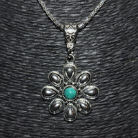 Silver/ Turquoise Stone Flower Shaped Pendant Necklace
