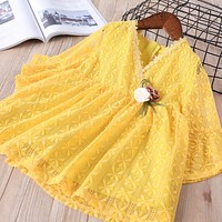 baby Girl clothes Children Summer Clothing full flare sleeve dress Kids Clothes lace v-neck Casual solid dresses