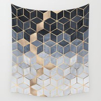 Soft Blue Gradient Cubes Wall Tapestry by Elisabeth Fredriksson