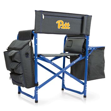 Pitt Panthers - Fusion Backpack Chair with Cooler, (Dark Gray with Blue Accents)