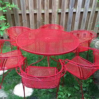 Fabulous 7-piece mid-century modern wrought iron patio set