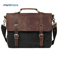 mom more 2016 Canvas Vintage Men Leather Briefcase Satchel School Military Messenger Bag Casual 14'' Computer Laptop Bags