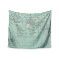"""Catherine Holcombe """"The Old World"""" Blue Teal Wall Tapestry"""